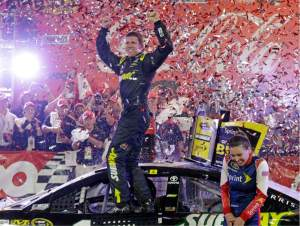 Carl Edwards celebrates his first Coca-Cola 600 win and first for Joe Gibbs Racing Sunday night.